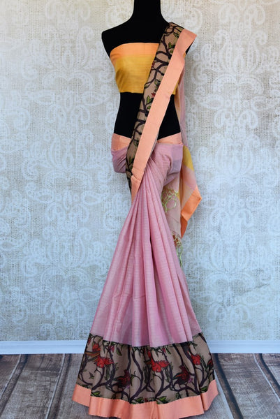 Buy pink linen saree online in USA with printed tissue border. Explore a collection of exquisite Indian linen sarees in USA at Pure Elegance store or shop online. -full view