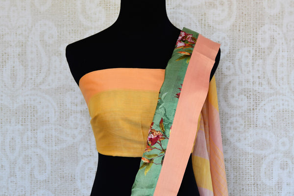 Buy pink linen sari online in USA with green printed border. Explore a collection of exquisite Indian linen sarees in USA at Pure Elegance store or shop online. -blouse pallu