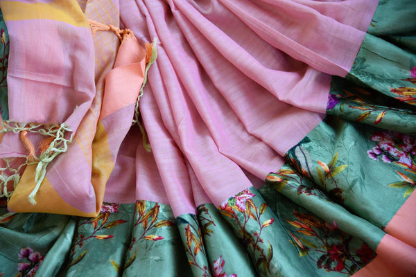 Buy pink linen sari online in USA with green printed border. Explore a collection of exquisite Indian linen sarees in USA at Pure Elegance store or shop online. -details