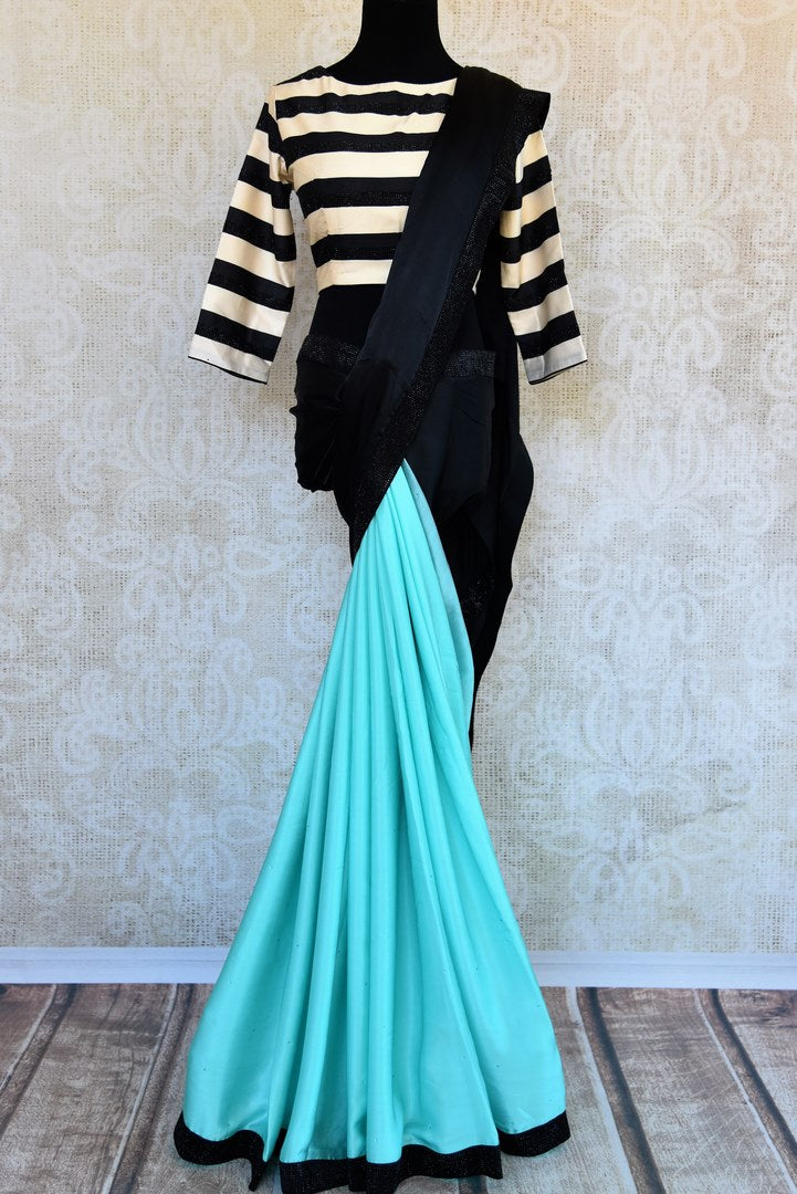 Shop sky blue crepe silk saree online in USA with stone work . Pure Elegance clothing store brings an exclusive range of Indian designer sarees in USA for women. -full view