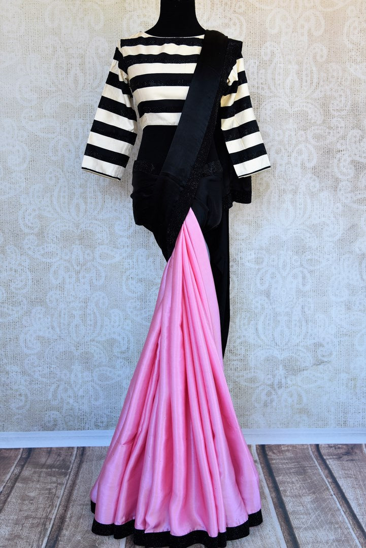 Shop pink and black crepe silk saree online in USA with stonework . Pure Elegance clothing store brings an exclusive range of Indian designer sarees in USA for women. -full view
