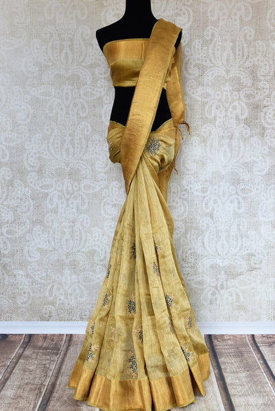 Buy golden brown embroidered linen tussar saree online in USA. Explore a range of  Indian handloom sarees at Pure Elegance online or visit our store in USA. Shop now.-full view
