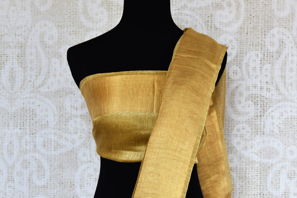 Buy golden brown embroidered linen tussar saree online in USA. Explore a range of  Indian handloom sarees at Pure Elegance online or visit our store in USA. Shop now.-blouse pallu