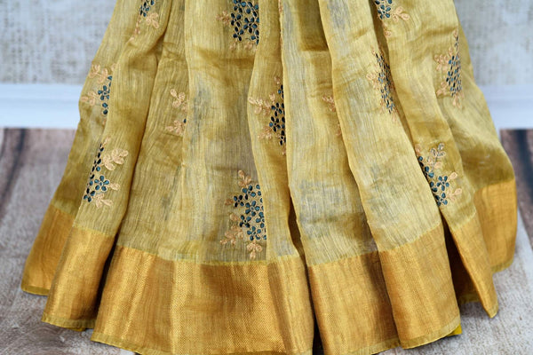 Buy golden brown embroidered linen tussar saree online in USA. Explore a range of  Indian handloom sarees at Pure Elegance online or visit our store in USA. Shop now.-pleats