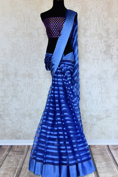 Buy blue tissue silk saree online in USA with Banarasi blouse piece. Explore a range of  Indian traditional handloom saris at Pure Elegance online store in USA. -full view