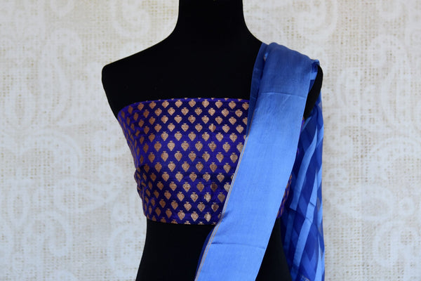 Buy blue tissue silk saree online in USA with Banarasi blouse piece. Explore a range of  Indian traditional handloom saris at Pure Elegance online store in USA. -blouse pallu
