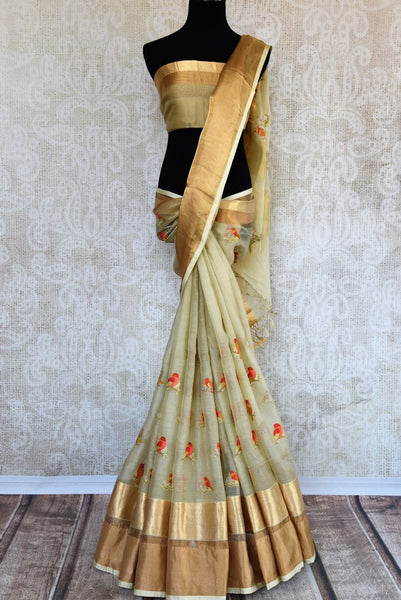 Buy beige embroidered chanderi silk saree online in USA with golden border. Explore a collection of exquisite Indian chanderi sarees in USA at Pure Elegance store or shop online. -full view