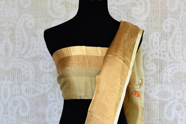 Buy beige embroidered chanderi silk saree online in USA with golden border. Explore a collection of exquisite Indian chanderi sarees in USA at Pure Elegance store or shop online. -blouse pallu