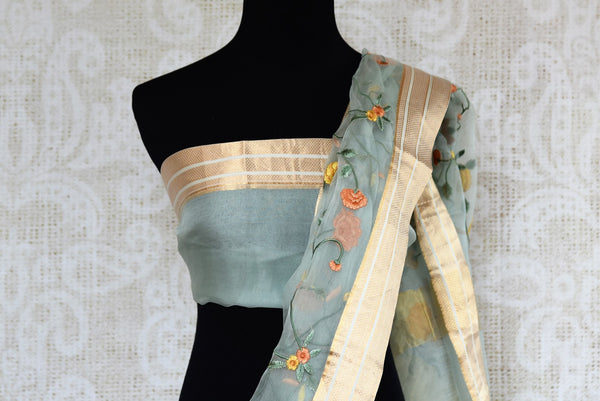 Shop blue embroidered tissue organza sari online in USA. Explore a range of  Indian traditional handloom sarees at Pure Elegance online or visit our store in USA. -blouse pallu