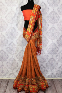 5cc9fda2f3c160 Rust brown printed linen saree buy online in USA. Pure Elegance clothing  store brings a