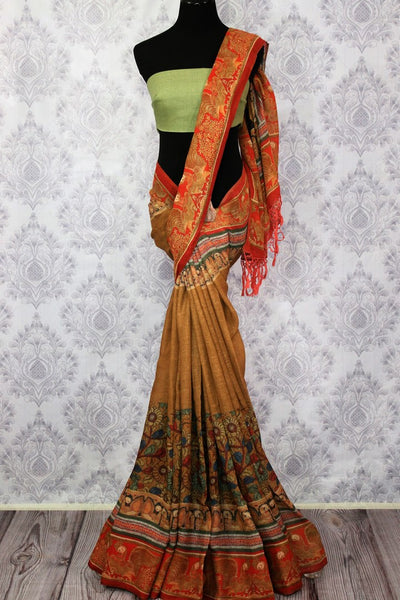 Brown printed linen saree buy online in USA. Pure Elegance clothing store brings a stunning collection of Indian printed linen sarees in USA for women. Shop online.-full view