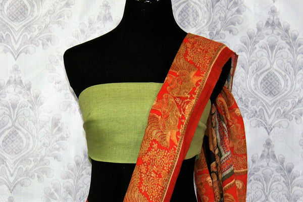 Brown printed linen saree buy online in USA. Pure Elegance clothing store brings a stunning collection of Indian printed linen sarees in USA for women. Shop online.-blouse pallu
