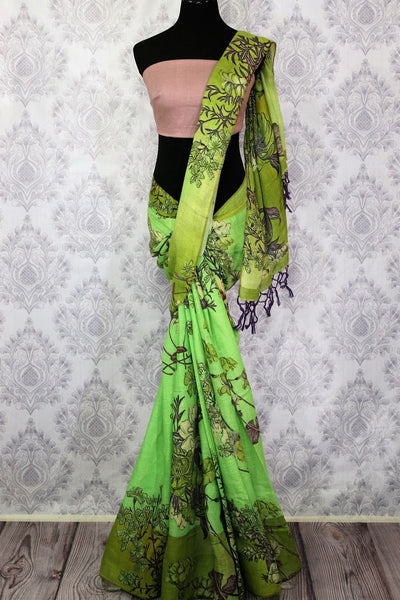 Green floral print linen saree buy online in USA. Pure Elegance clothing store brings a stunning collection of Indian printed linen sarees in USA for women. Shop online.-full view
