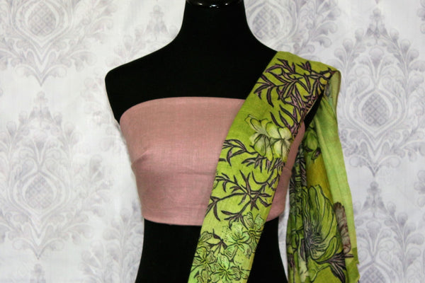 Green floral print linen saree buy online in USA. Pure Elegance clothing store brings a stunning collection of Indian printed linen sarees in USA for women. Shop online.-blouse pallu