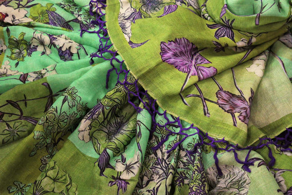 Green floral print linen saree buy online in USA. Pure Elegance clothing store brings a stunning collection of Indian printed linen sarees in USA for women. Shop online.-details