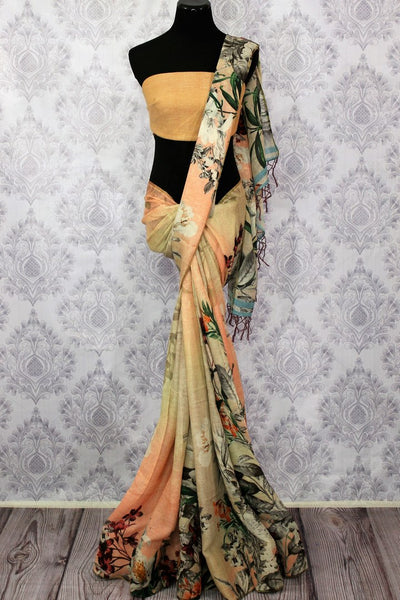 Cream floral print linen sari buy online in USA. Pure Elegance clothing store brings a stunning collection of Indian designer sarees in USA for women. Shop now.-full view