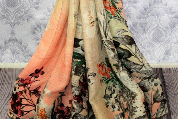 Cream floral print linen sari buy online in USA. Pure Elegance clothing store brings a stunning collection of Indian designer sarees in USA for women. Shop now.-pleats