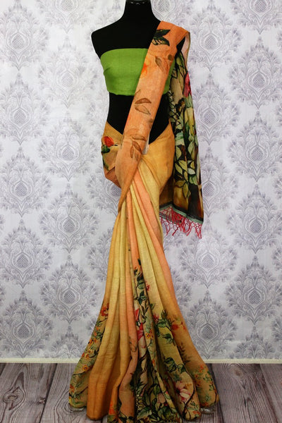 Orange-yellow printed linen saree buy online in USA. Pure Elegance clothing store brings a stunning collection of Indian designer sarees in USA for women. Shop now.-full view
