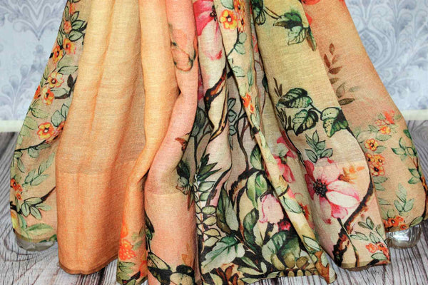 Orange-yellow printed linen saree buy online in USA. Pure Elegance clothing store brings a stunning collection of Indian designer sarees in USA for women. Shop now.-pleats