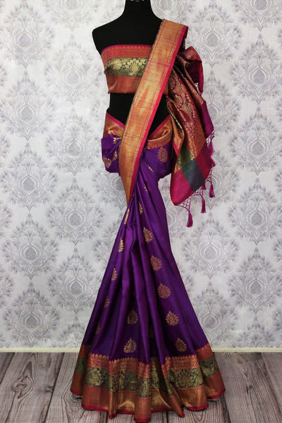 Buy purple tussar Benarasi saree online in USA. Pure Elegance fashion store brings an alluring range of traditional Indian Banarasi sarees in USA for women. Shop online.-full view