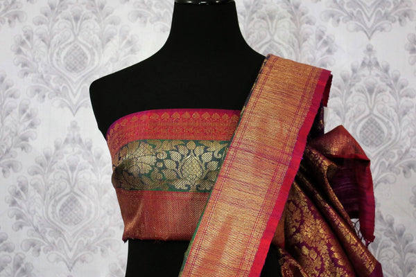 Buy purple tussar Benarasi saree online in USA. Pure Elegance fashion store brings an alluring range of traditional Indian Banarasi sarees in USA for women. Shop online.-blouse pallu