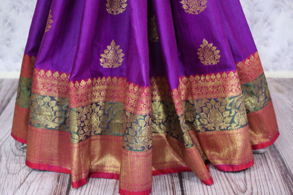 Buy purple tussar Benarasi saree online in USA. Pure Elegance fashion store brings an alluring range of traditional Indian Banarasi sarees in USA for women. Shop online.-pleats