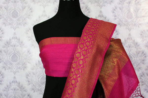 Blue Muga Banarasi sari for online shopping in USA. Pure Elegance fashion store brings an alluring range of exquisite Indian handloom sarees in USA for women. -blouse pallu