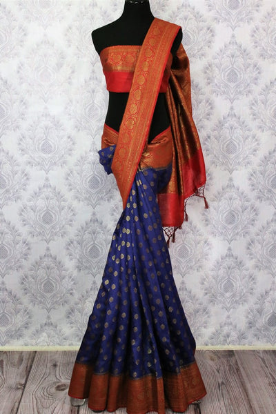 Traditional dark blue Muga Banarasi saree for online shopping in USA. Pure Elegance fashion store brings an alluring range of exquisite Indian handloom sarees in USA for women. -full view