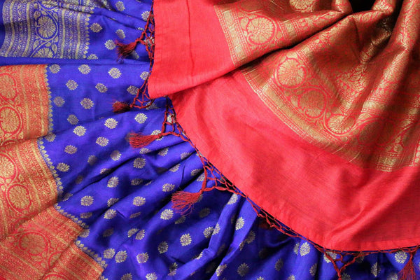 Traditional dark blue Muga Banarasi saree for online shopping in USA. Pure Elegance fashion store brings an alluring range of exquisite Indian handloom sarees in USA for women. -details