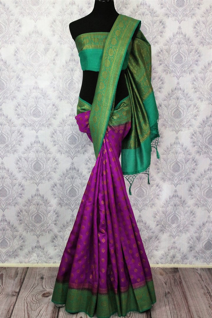 Purple Muga Banarasi saree with buta for online shopping in USA. Pure Elegance fashion store brings an alluring range of exquisite Indian handloom sarees in USA for women. -full view