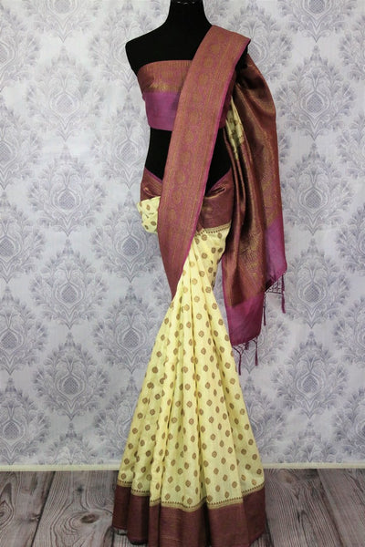 Cream Muga Banarasi saree with buta for online shopping in USA. Pure Elegance fashion store brings an alluring range of exquisite Indian handloom saris in USA for women. -full view