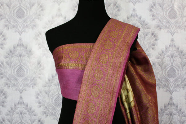Cream Muga Banarasi saree with buta for online shopping in USA. Pure Elegance fashion store brings an alluring range of exquisite Indian handloom saris in USA for women. -blouse pallu
