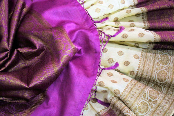 Cream Muga Banarasi saree with buta for online shopping in USA. Pure Elegance fashion store brings an alluring range of exquisite Indian handloom saris in USA for women. -details