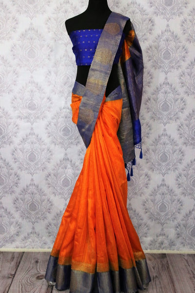 Buy orange tussar Banarasi sari online in USA with blue border. Browse through a range of exclusive Indian designer sarees in USA at Pure Elegance online store. Shop now.-full view