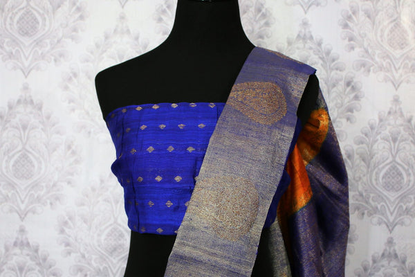 Buy orange tussar Banarasi sari online in USA with blue border. Browse through a range of exclusive Indian designer sarees in USA at Pure Elegance online store. Shop now.-blouse pallu
