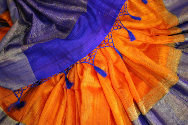 Buy orange tussar Banarasi sari online in USA with blue border. Browse through a range of exclusive Indian designer sarees in USA at Pure Elegance online store. Shop now.-details