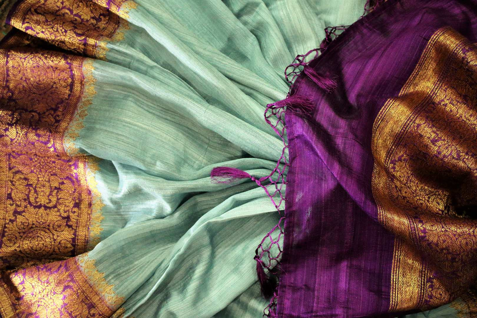 Buy sky blue Benarasi tussar saree online in USA with purple border. Browse through a range of traditional Indian saris in USA at Pure Elegance online store. Shop now.-details