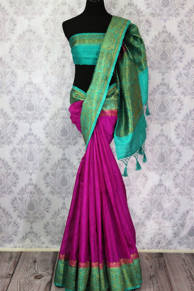 Buy dark pink Benarasi tussar saree online in USA with blue border. Browse through a range of traditional Indian sarees in USA at Pure Elegance online store. Shop now.-full view