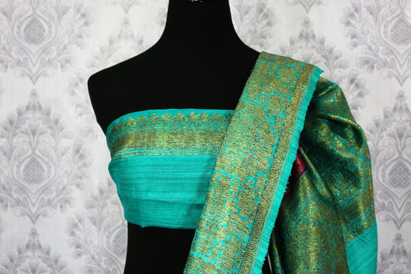 Buy dark pink Benarasi tussar saree online in USA with blue border. Browse through a range of traditional Indian sarees in USA at Pure Elegance online store. Shop now.-blouse pallu