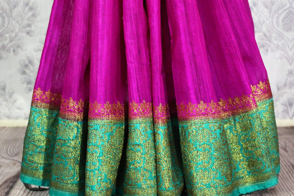 Buy dark pink Benarasi tussar saree online in USA with blue border. Browse through a range of traditional Indian sarees in USA at Pure Elegance online store. Shop now.-pleats