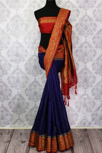 Buy blue Benarasi tussar saree online in USA with red border. Browse through a range of traditional Indian sarees for weddings at Pure Elegance online store. Shop now.-full view