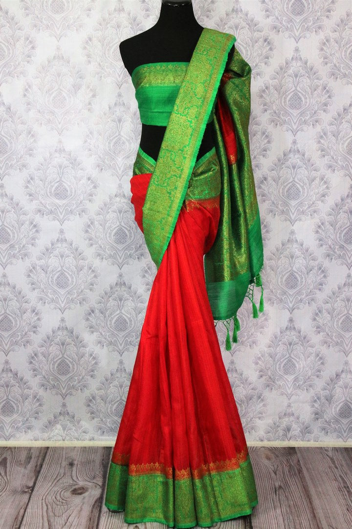 Buy red Banarasi tussar saree online in USA with green border. Browse through a range of traditional Indian sarees for weddings at Pure Elegance online store. Shop now.-full view