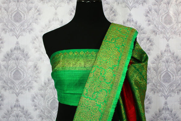 Buy red Banarasi tussar saree online in USA with green border. Browse through a range of traditional Indian sarees for weddings at Pure Elegance online store. Shop now.-blouse pallu