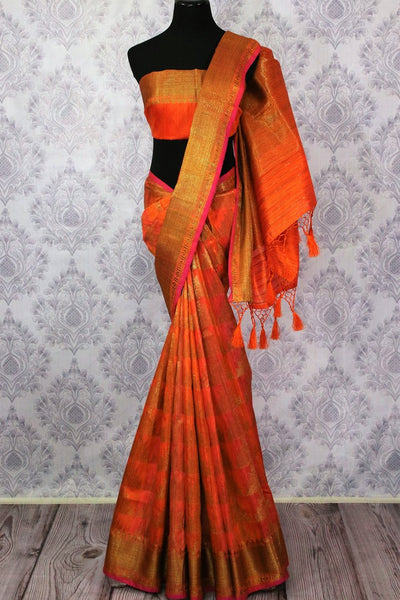Orange Banarasi tussar saree buy online in USA with gold border. Browse through a range of traditional Indian sarees for parties at Pure Elegance online store. -full view