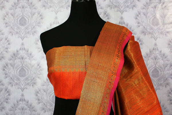 Orange Banarasi tussar saree buy online in USA with gold border. Browse through a range of traditional Indian sarees for parties at Pure Elegance online store. -blouse pallu