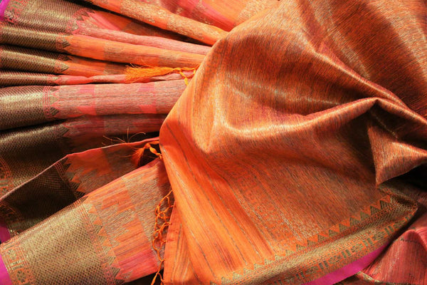 Orange Banarasi tussar saree buy online in USA with gold border. Browse through a range of traditional Indian sarees for parties at Pure Elegance online store. -details