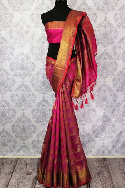 Pink Banarasi tussar saree buy online in USA with gold border. Browse through a range of traditional Indian saris for parties at Pure Elegance online store or visit our shop in USA.-full view