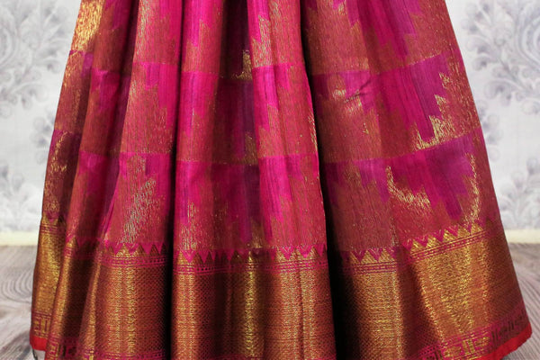 Pink Banarasi tussar saree buy online in USA with gold border. Browse through a range of traditional Indian saris for parties at Pure Elegance online store or visit our shop in USA.-pleats