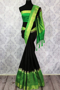 Shop black tussar Banarasi saree online in USA with green border. Explore a range of Indian wedding sarees in USA at Pure Elegance online or visit our store in USA.-full view