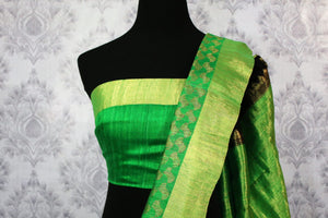 Shop black tussar Banarasi saree online in USA with green border. Explore a range of Indian wedding sarees in USA at Pure Elegance online or visit our store in USA.-blouse pallu
